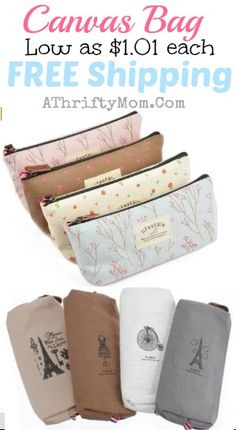 canvas bags low as a dollar each with FREE SHIPPING, perfect for a party favor or quick gift idea to make someones day #purse, #Bag, #Pencil...