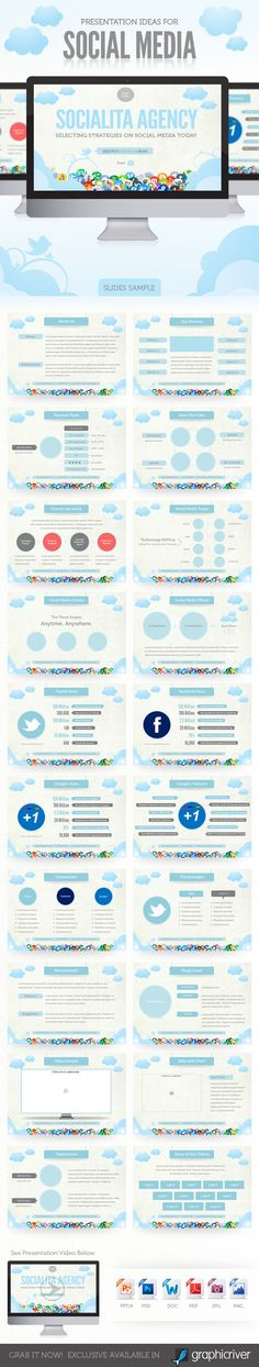 Social Media Presentation Template  #powerpoint #PPT • Click here to download ! http://graphicriver.net/item/social-media-presentation-template/428939?s_rank=1175&ref=pxcr