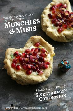 In this episode of Munchies & Minis we learn to make Sweetheart's Confection, a Dungeons & Dragons pastry known to bind two lovers within a single bite. Minis, Food Photography, Geek Stuff, Pie, Party Stuff, Ethnic Recipes, Dragons, Desserts, Parties