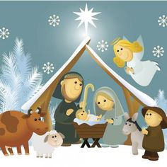 Cartoon Nativity Scene With Holy Family Stock Vector - Illustration of traditional, element: 43417305 Christmas Nativity Scene, Christmas Art, Xmas, Cute Christmas Wallpaper, Christmas Background, Summer Banner, Christmas Drawing, Pintura Country, Holy Family