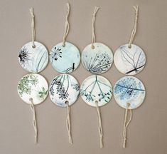 Terrific Snap Shots clay pottery gifts Style Botanical Pottery Gift Tags Set by koalachickens Stoneware Clay, Ceramic Clay, Ceramic Pottery, Porcelain Ceramics, Ceramic Pendant, Ceramic Jewelry, Polymer Clay Jewelry, Clay Projects, Clay Crafts
