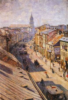 """Władysław Podkowiński """"Ulica Nowy Świat w Warszawie w dzień letni"""", 1892  (Muzeum Narodowe w Warszawie)"""