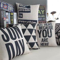Black And White Geometric Stripe Art Cushion Cover Dream Love Decorative Throw Pillows Linen Cotton Sofa Pillow Case