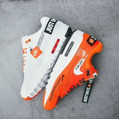 brand new eedb8 b48d5 Nike Air Max shoes in white and orange with Just Do It branding. Addidas  Sneakers