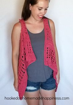 XOXO Summer Vest - Add this XOXO Summer Crochet Vest to your summer wardrobe for a fun accessory! The cotton yarn makes it light and a great project for warmer months.