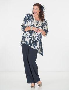 Box+2+stone/navy+crepe+print+top+and+trouser