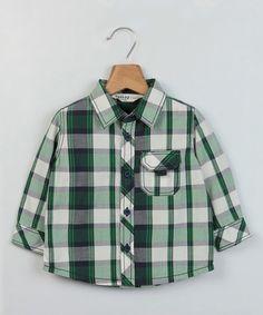 Look at this #zulilyfind! White & Green Check Button-Up - Infant, Toddler & Boys #zulilyfinds