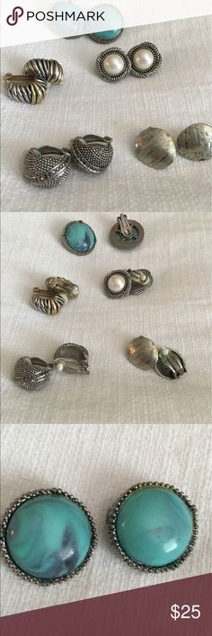 Flash Sale💥5 sets Vintage Estate Clip on Earrings Five Pair of heirloom estate Clip earrings. Quality costume silver tone. One set of large turquoise and one set of large pearl. Five pair in one listing. .Sold by very active 5 star seller. Ships immediately. 👍🏽 Jewelry Earrings