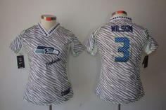 Online Buy Women Nike Seattle Seahawks #3 Russell Wilson 2012 Fashion Jerseys[Fem Fan Zebra] For Sale Cheap