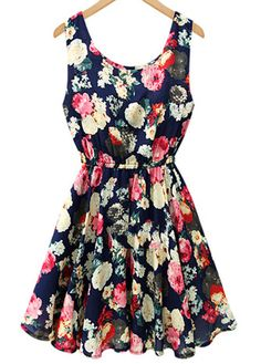 Pretty Round Neck Sleeveless Printed Dress for Woman Cute Dresses, Beautiful Dresses, Casual Dresses, Pretty Outfits, Cute Outfits, Look Fashion, Fashion Outfits, Vestido Casual, European Fashion