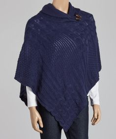 Love this Navy Cowl Neck Poncho - Women by Coline USA on #zulily! #zulilyfinds
