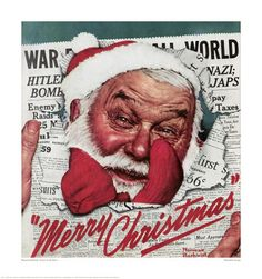 Norman Rockwell Christmas  Santa busting through the newspaper to give a Christmas greeting