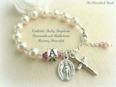 Personalized Birthstone Catholic Baby Baptism Bracelet with Initial Bead and Birthstone of your Choice Baby Baptism, Christening, Our Father Prayer, Baptism Favors, Baptism Ideas, Irish Jewelry, Religious Jewelry, Rosary Bracelet, Rosary Beads
