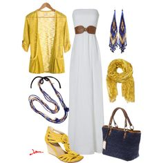 white maxi dress, created by jayneann1809 on Polyvore