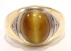 10k Solid Gold Tiger Eye Ring Thick Heavy Band Diamonds Can Be Sized Free Ship #Band