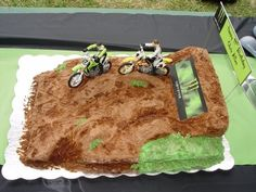 Birthday Cake For A Monster Energy Motocross Fan Yellow With  cakepins.com