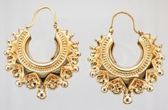 9ct 9Carat New Yellow Gold Ladies Spike Victorian Style Creole Hoop Earrings