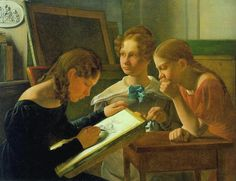 Three Young Girls (The Artist's Sisters Alvilde, Ida, and Henriette), 1827. Constantin Hansen (Danish, 1804-1880). Oil on canvas. Statens Museum for Kunst, Copenhagen.  Hansen was one of the painters associated with the Golden Age of Danish Painting. He was deeply interested in literature and mythology, and inspired by art historian Niels Lauritz Høyen, he tried to recreate a national historical painting based on Norse mythology. He painted also many altarpieces and portraits, including the