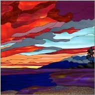 Water, Lake, Sea, Ocean Stained Glass Patterns on CD, 80 designs   Might make an interesting art quilt