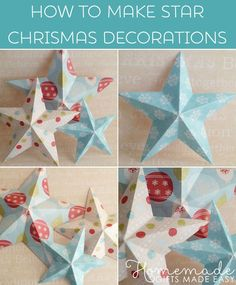 Making Christmas Decorations - 3D Paper Stars. Templates and instructions at Homemade-Gifts-Made-Easy.com