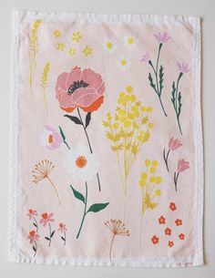 Pink Floral Dishtowel by lisaruppdesign on Etsy, $18.00