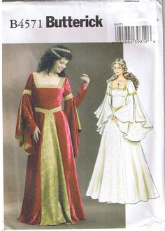 Butterick Costume Sewing Pattern #4571  Medieval/Renaissance Princess Queen Wedding Dress Costumes  Plus Sizes: 14, 16, 18 & 20  This womens Butterick costume sewing pattern is new, uncut and complete with original factory folds. This costume pattern is for a Renaissance era gown, a Princess or Queen dress or would also work as a bridal gown.  This Misses gown is fitted, flared and floor length with lined bodice, three piece sleeve with finger thread loop and back lacing.  Suggested ...