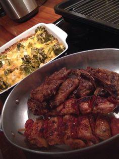 Lamb tjops, chicken & sundried tomato espetada with cheesy broccoli bake. Mmmm