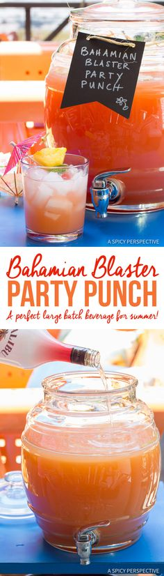 Large Batch Caribbean Cocktails - The Bahamian Blaster Party Punch is the perfect boozy beverage for summer! Loaded with 3 juices and 6 rum varieties, it's Party Drinks, Cocktail Drinks, Fun Drinks, Non Alcoholic Drinks, Cocktail Recipes, Beverages, Margarita Recipes, Bartender Drinks, Drunk Party