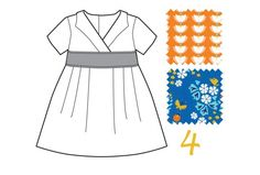 Made by Rae: Library Dress in Blue Meadow Blossoms and Orange Lotus Drop