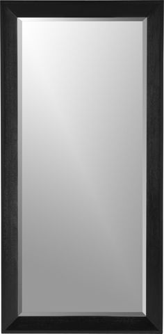 """Large-scale leaning floor mirror frames beveled glass in a mitered wood frame suited to classic or modern settings. Solid mahogany, mahogany veneer and low-emission engineered woodBlack lacquer finishBeveled mirrored glassLean only.  38""""w, 78""""l, 2""""d."""