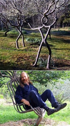 Artist Peter Cook makes tree art. He started that chair in 1998 and the photo was taken around 2008. Probably the first guy in the world trying to shape living trees into art anywhere in the world. #eco-art