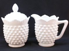 Vintage Fenton Milk Glass Hobnail Creamer and Sugar Bowl Set with Lid Unmarked, $39.99
