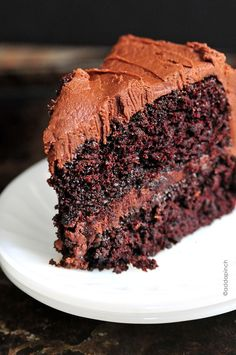 Moist, yummy chocolate cake that even freezes well. (Espresso powder and boiling water can be substituted with freshly brewed, strong coffee, heated up to boil.)