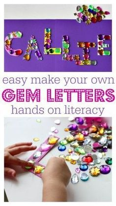 Alphabet activity for kids - writing name with gems