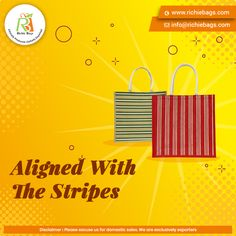 The multicolored striped design is from our Jute Bags collection. An ideal corporate gift🎁, and will suit for multiple occasions. Order in Bulk at surprising Wholesale Rates. We ship worldwide🌍.   Visit us: www.richiebags.com/ Email us: info@richiebags.com  #JuteBags #CorporateGift #EcoFriendly Promotional Bags, Jute Bags, Christmas Bags, Corporate Gifts, Stripes Design, Suit, Collection, Outfit, Burlap Sacks