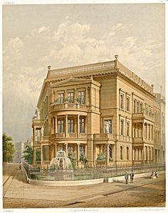 Berlin, Bellevuestraße 10, Kemperplatz, von Friedrich Wilhelm Hitzig, aus Zeitschrift für Bauwesen, um 1855