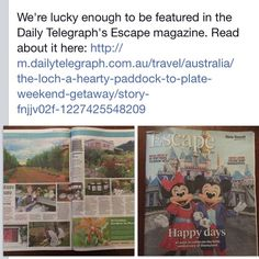 We are featured in Today's Daily Telegraph, escape Section. To read the full article head to www.dailytelegraph.com.au.  A B&B with nature to nurture, by Bruno Kelly.  #dailytelegraph#sunday#escape#paddocktoplate#B&B#holiday#farm#farmtofork #southernhighlands @theloch