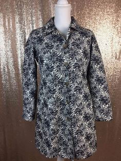 Lands End Womens Jacket XS 2 - 4 Rain Coat Floral Navy White Lined Collar  | eBay