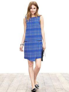 Blue Square Jacquard Dress