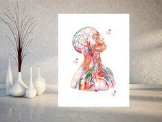 Menschlicher Kopf und Torso Anatomie Kunstdruck Kopf Hals und | Etsy Yin Yang, Human Head, Medical Art, Museum, Gift Wrapping Services, Anatomy Art, Head And Neck, All Print, Wall Decals