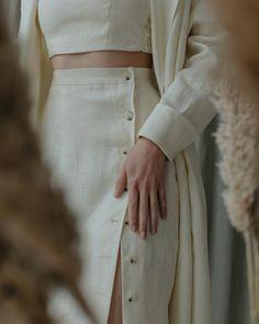Linen Skirt in Vanilla color Modest Fashion, Fashion Outfits, Womens Fashion, Fashion Skirts, Casual Outfits, Cute Outfits, Look Fashion, Fashion Design, Girls Wardrobe
