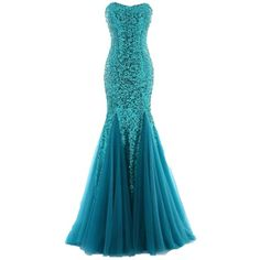 women ball gown evening prom dress Women's bra Fishtail wedding dress (10.200 CLP) ❤ liked on Polyvore featuring dresses, gowns, long dresses, vestidos, blue gown, long blue dress, blue evening gown, cocktail dresses and long cocktail dresses