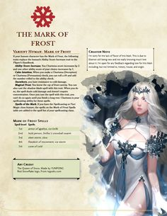 Homebrewing class The Mark of Frost - A human dragonmark subrace thats pretty chill : UnearthedArcana Dungeons And Dragons Races, Dungeons And Dragons Classes, Dnd Dragons, Dungeons And Dragons Characters, Dungeons And Dragons Homebrew, Dnd Characters, Fantasy Characters, Dnd 5e Races, D D Races