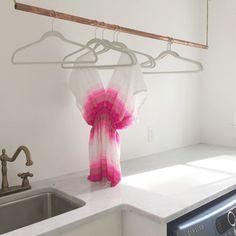 copper rod diy clothes hanger - lag screws, copper pipe, rope