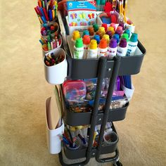 IKEA raskog utility cart diy kids art cart great for organizing kids preschool supplies, adults scrap booking material, homework stuff, nursery and cloth diapers and more. I love this!