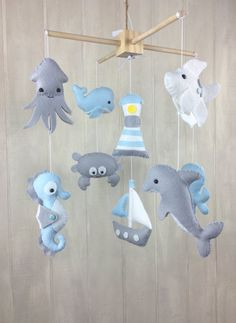 Baby mobile ocean mobile crib mobile octopus by littleHooters