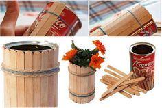 Cool Crafts with Popsicle Sticks | DIY Popsicle Stick Flower Vase                                                                                                                                                                                 More
