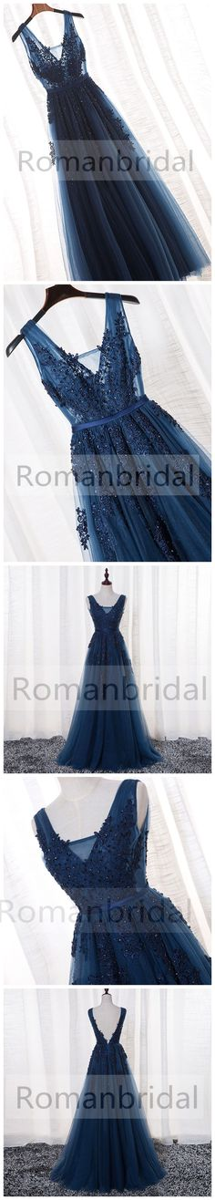 2018 A-LINE V-neck floor-length tulle prom dresses/backless sleeveless evening dress with appliques, Prom Dress, PD0445