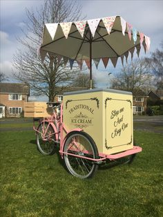 Pink and cream ice cream bike with bunting