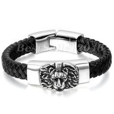 "Cool Men Bracelet Stainless Steel Lion Head Black Genuine Leather Wristband 8.7""   Jewelry & Watches, Men's Jewelry, Bracelets   eBay!"